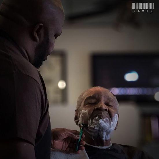 Getting Pampered Candid Color Portrait Barber Shop