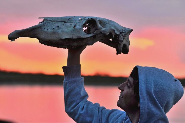 Close-up of man holding animal skull against lake during sunset