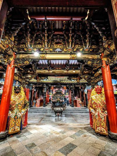 Illuminated temple in building