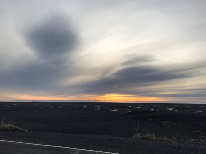 Beauty In Nature Scenics Nature Landscape No People Iceland Sunset Shining Through Sky Cloud - Sky Tranquility Outdoors Road