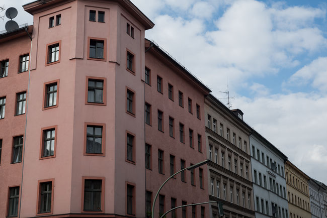 Berlin Pastel Power Apartment Architecture Building Building Exterior Built Structure City Cloud - Sky Germany In A Row Low Angle View No People Residential District Side By Side Sunlight Window