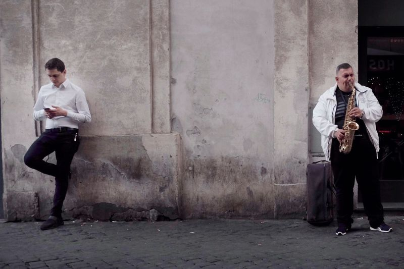 When in Rome Fujifilm Streetphotography Full Length Young Adult Two People Adult Young Men Men Holding Music People Standing Musical Instrument Males