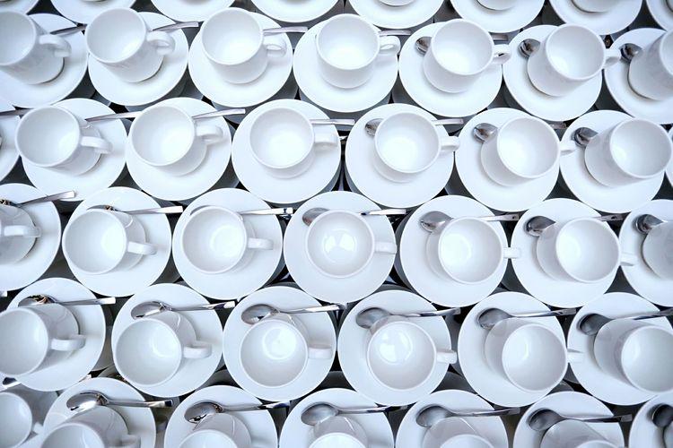 Full frame shot of crockeries arranged on table