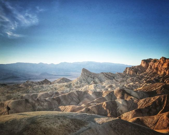 Zabriskie Point In death Valley National Park Premium Collection Zabriskie Point Nature Mountain Landscape Geology Tranquility Mountain Range Arid Climate Beauty In Nature Clear Sky Outdoors Tranquil Scene Physical Geography Desert Day Blue Scenics Travel Destinations Sky