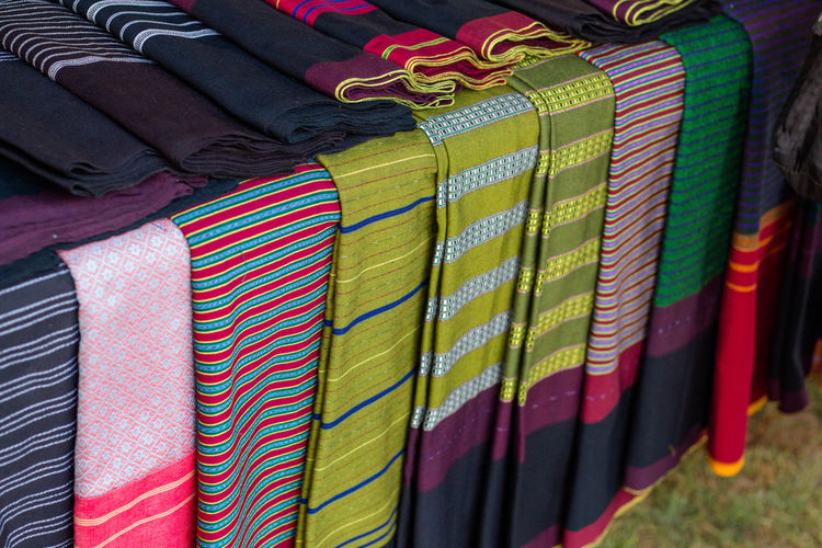 Thailand Clothes Folk Clothing In A Row Multi Colored Stack Textile
