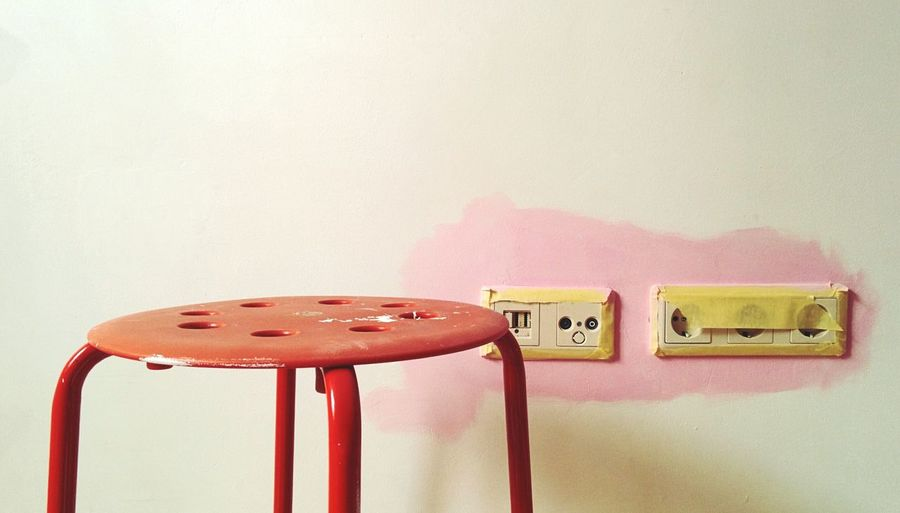 Paint Paint Job Wall Painting Pink Color Pink Paint Softness Focus On Foreground Stool Under Construction RePicture Growth Here Belongs To Me Girly Things Unfinished Work... Socket