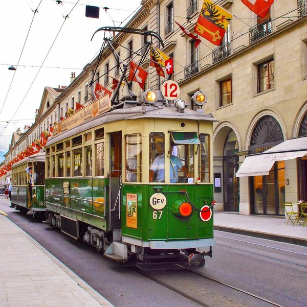 Vintage Tram in Geneva Geneve Genf Switzerland Tramway Tramways Streetphoto_color Rails Traffic Transportation Showcase April Global Photographers Alliance Global Photographer Works Exhibition Need For Speed Pivotal Ideas