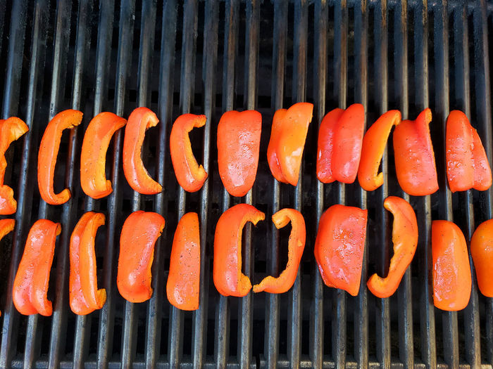 High angle view of pumpkins on barbecue grill