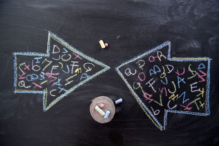 Close-up of multi colored chalk drawing on blackboard