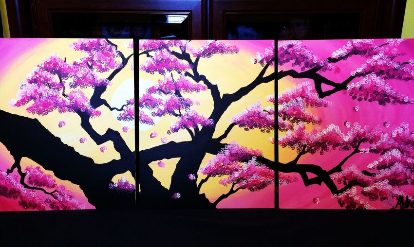 Just finished this 3 piece painting of a Sakura tree for a friend Art Painting Sakura Nature