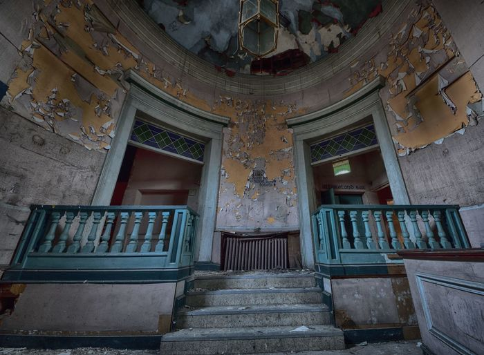 Abandoned Abandoned Places Architecture Built Structure Day Derelict Derelict Building Derp Door Doorway Indoors  Low Angle View No People Ornate Staircase Steps Steps And Staircases