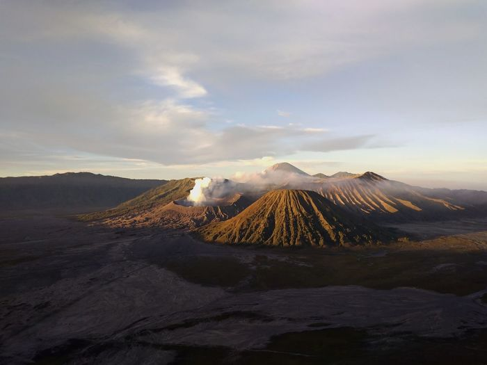 Bromo mountain view at sunrise on a nature background
