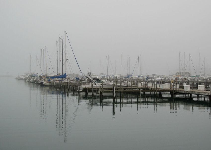 Fog on Lake Michigan. Boats⛵️ Harbor Lake Michigan Waukegan Fog