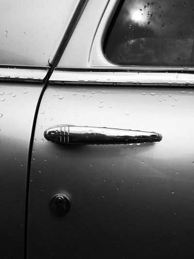 Car Door Car Door Handle Rain Drops Antique Car Up Close And Personal Black And White Photography