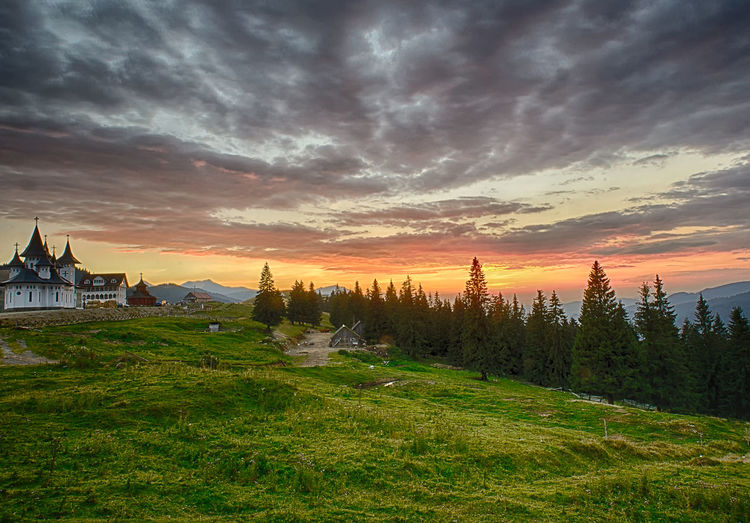 Pasul Prislop Beauty In Nature Cloud Cloud - Sky Cloudy Dramatic Sky Field Grass Idyllic Landscape Nature Non-urban Scene Orange Color Overcast Scenics Sky Sunset Tranquil Scene Tranquility Water Weather