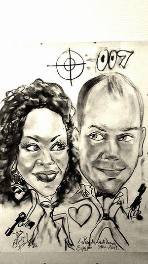 Caricature me and my wife !!! 😃 Lapineda España 2013 Summer Caricature Jamesbond 007'