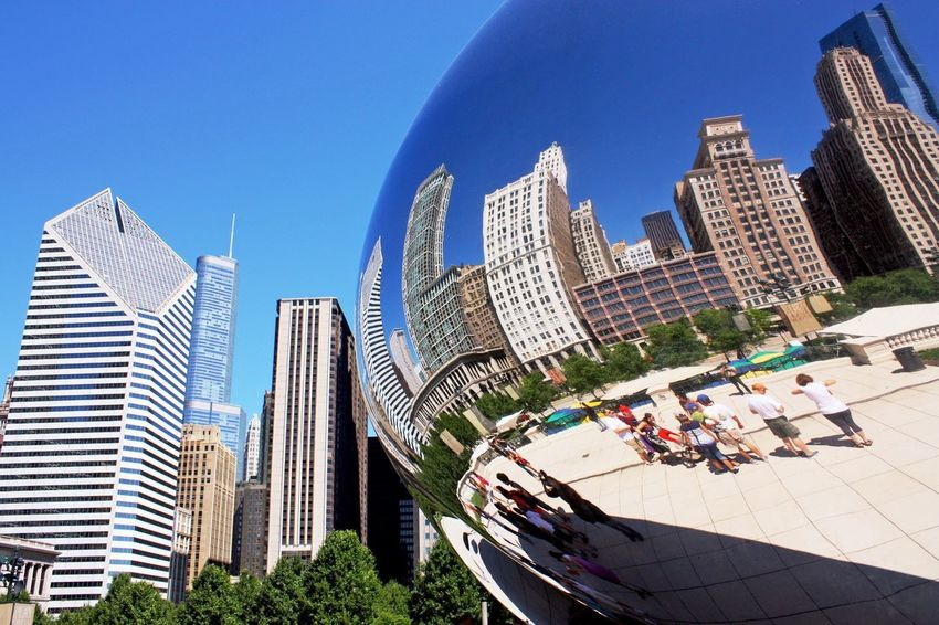 Architecture Building Exterior Built Structure City Skyscraper Blue Modern Tall - High Clear Sky Office Building Tower Tree Urban Skyline Building Story Financial District  City Life Cityscape Day Outdoors Sky Abstract Mirror Cloud Gate in Chicago , United States MISSIONS: The Street Photographer - 2017 EyeEm Awards The Architect - 2017 EyeEm Awards The Traveler - 2018 EyeEm Awards The Architect - 2018 EyeEm Awards
