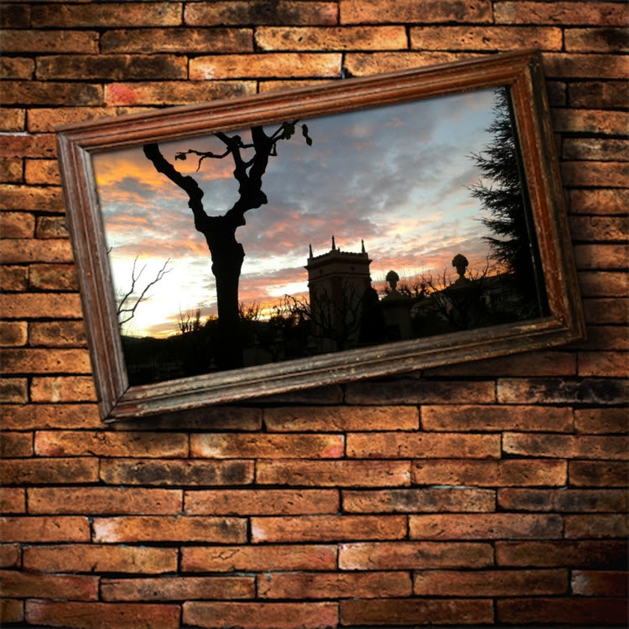 brick wall, window, architecture, built structure, building exterior, no people, cloud - sky, sky, day, indoors, tree, close-up