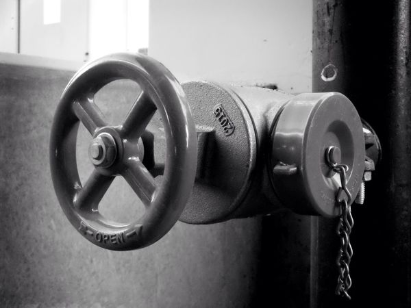 open the valve and let it flow... Blackandwhite Black & White Black And White Close-up Metal Indoors  No People Day Wheel Pipe Spigot Valve Open Fire Suppression Sprinkler System Streetphotography Urbanphotography EyeEm Best Shots Impurist: Totally Edited No Budget Photography