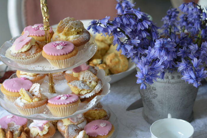 Pink Tea Party Blush Pink Close-up Cupcake Day Dessert Flower Food Food And Drink Freshness Indoors  Indulgence No People Ready-to-eat Sweet Food Table Temptation Unhealthy Eating Wild Flowers