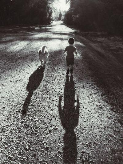 (My son) boy & his dog Blackandwhite Dog Love Boy And Dog
