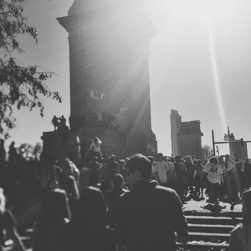 Real People Large Group Of People Built Structure Cubs Fan Cubsfan Chicago Grant Park Flythew EyeEm Best Shots - Black + White The Photojournalist - 2017 EyeEm Awards