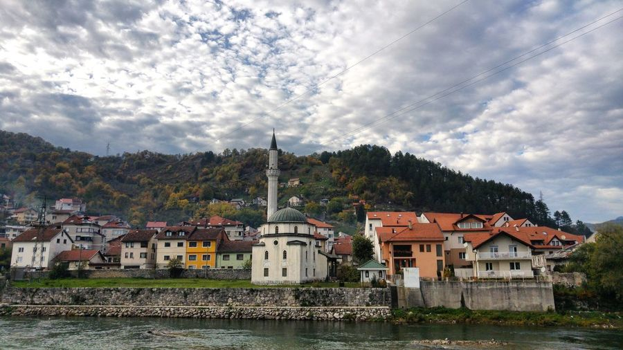 Old town Konjic Cloud - Sky Architecture Building Exterior House Built Structure No People Day Outdoors Tree Water Nature Green Color Sky Tree_collection  Mosque Old Mosque River Riverside River Collection