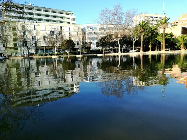 Reflection Water Outdoors Built Structure Day No People Architecture Urban Exploration BCN Barcelona Barcelona Catalunya Cityscape City & Nature Morning Light Tranquility Tranquil Scene Pond Reflections Pond Water The City Light Watter