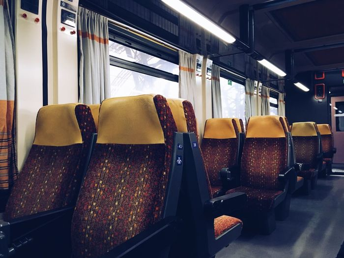 Travel Vehicle Interior Transportation Vehicle Seat Indoors  Empty Chair Modern Seat Luxury No People Public Transportation Day