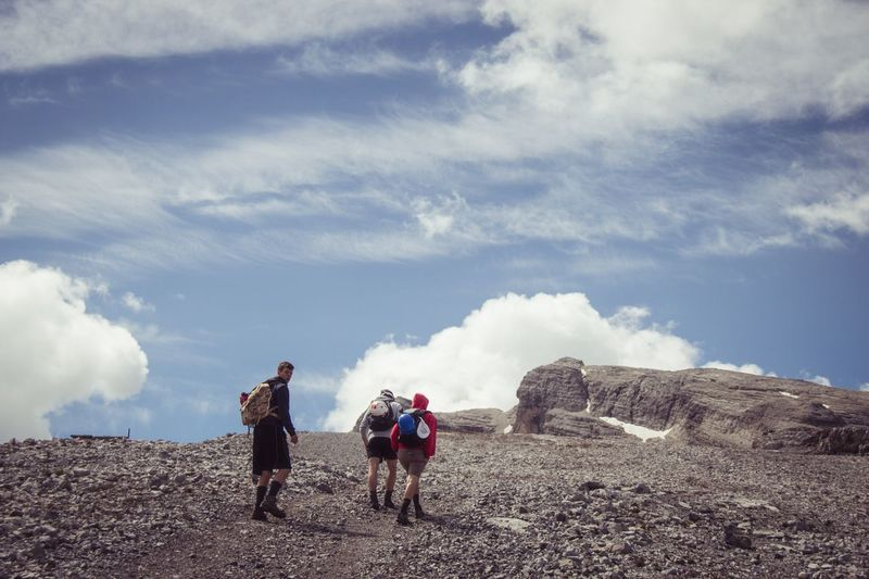 Adult People Walking Outdoors Sky Togetherness Adventure Full Length Friendship Scenics Italy Mountain Ferrata  Backpack Steep Climbing Landscape Beauty In Nature Breathing Space Been There.