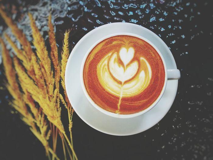 hot latte coffee Froth Art Cappuccino Frothy Drink Drink Latte Cafe Coffee - Drink Leaf Directly Above Coffee Cup Mocha Caffeine Hot Drink Cafe Macchiato Coffee Espresso