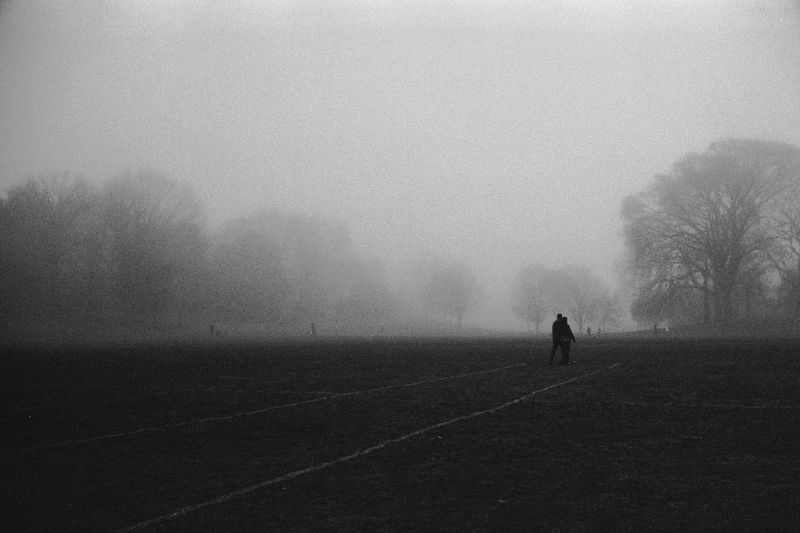 Beauty In Nature Black And White Day Fog Landscape Lifestyles Moody Nature Outdoors Prospect Park Real People Silhouette Sky