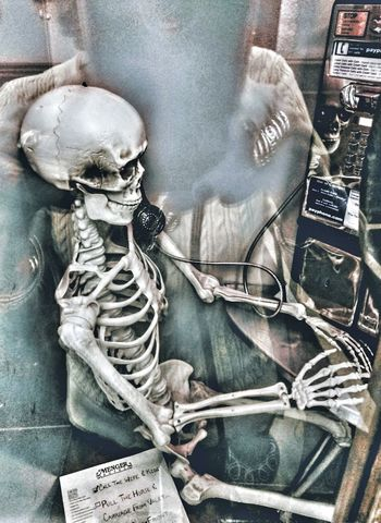 Halloween cheers Halloween Images Ghostlycall Phonebooth Close-up Skeleton Human Skeleton