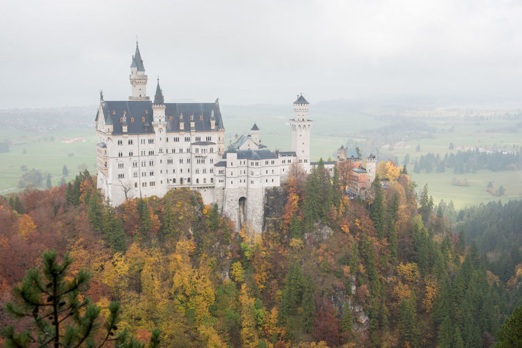 Neuschwanstein Castle with Autumn colors, Fussen, German Tree Architecture Autumn Built Structure Plant Building Exterior Change Building Nature No People Day History Travel Destinations The Past Sky Tower City Growth Outdoors Residential District Spire