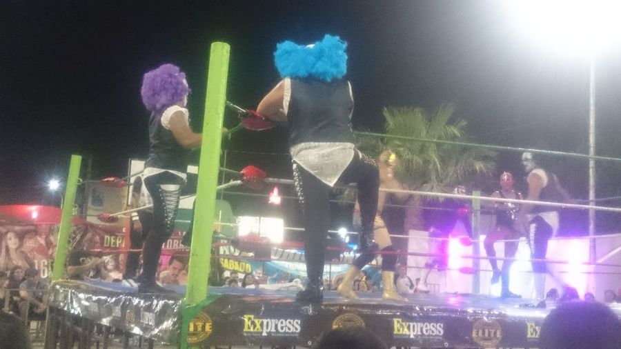 Arts Culture And Entertainment Night Performance Illuminated Music People Adult Nightlife Adults Only Outdoors Popular Music Concert Sky Only Men Enjoyment Leisure Activity Comarca Lagunera Luchadores Lucha Libre Mexican Wrestling Torreón, Coahuila Fun Real People Wrestling Event