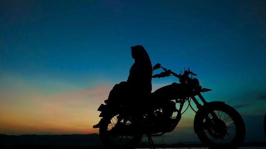 Blue Hours With You Motorcycle Silhouette Riding Sky Adventure Sunset People Biker Motocross Outdoors Clear Sky Extreme Sports Golden Hour Tree