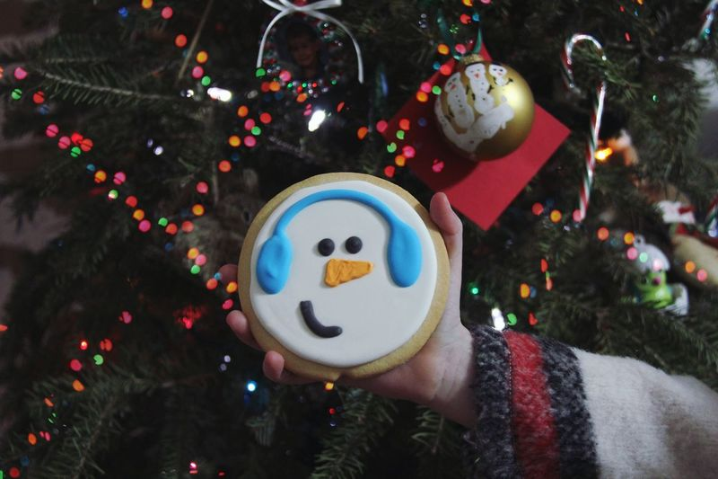 Frosty Cookie Christmas Christmas Tree Christmas Decoration Celebration Christmas Ornament Tradition Holiday - Event Indoors  Tree One Person Human Hand Holding Human Body Part Christmas Lights Men Snowman Close-up Real People Day People Food Stories