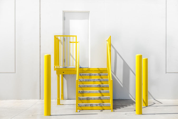 Stairs Absence Architecture Building Built Structure Copy Space Day Home Interior Indoors  Ladder No People Railing Sign Staircase Step Ladder Steps And Staircases Success Up Wall - Building Feature White Color Yellow