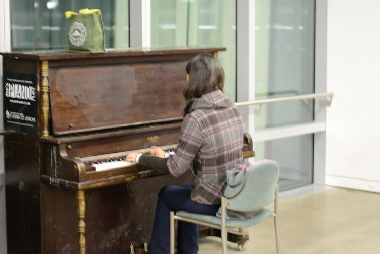 Day Indoors  Leisure Activity Music Musical Instrument Musician One Person People Pianist Piano Playing Real People Rear View Sitting Skill