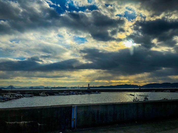 瀬戸内の夕焼け。 Harbor Sunset Silhouettes Sunset_collection Cloud - Sky Sky Water Bridge - Man Made Structure Built Structure Connection Scenics No People Transportation Nature Outdoors Sunset Tranquility Beauty In Nature Sea Day Nautical Vessel