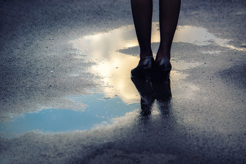 It's my turn to shine After The Rain Rain Reflection Sky Reflection Day Human Leg Low Section One Person Real People Reflection Sky Sky Reflections In The Water Standing Water Wet Women
