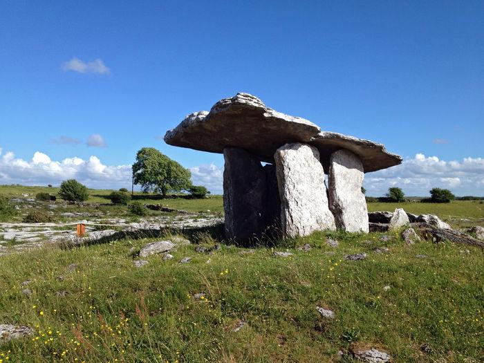 Poulnabrone dolmen against blue sky