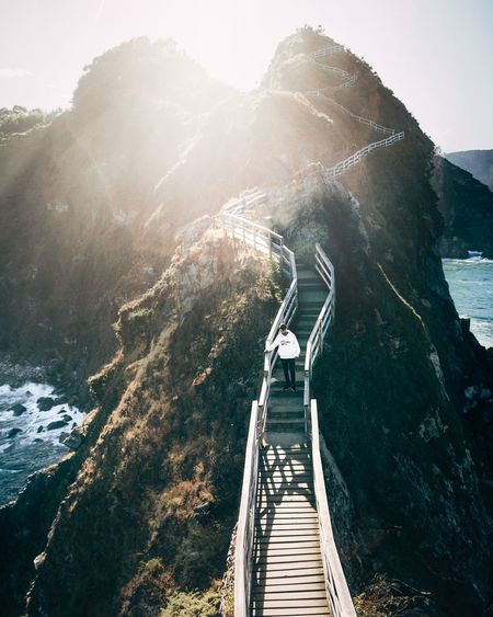 High angle view of bridge against mountains