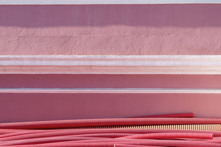 ... Industry Lines Cable Protection Conduit Day Detail Electrical System Full Frame Minimalism No People Outdoors Pink Color Plastic Streetphotography End Plastic Pollution