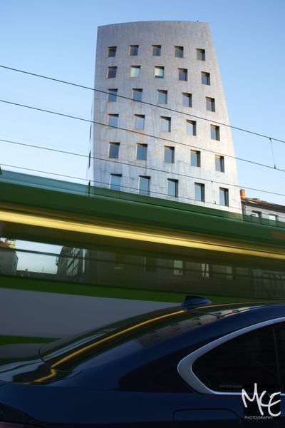 Architecture Car City Clear Sky Day Hannover Movement No People Outdoors Reflection Tram