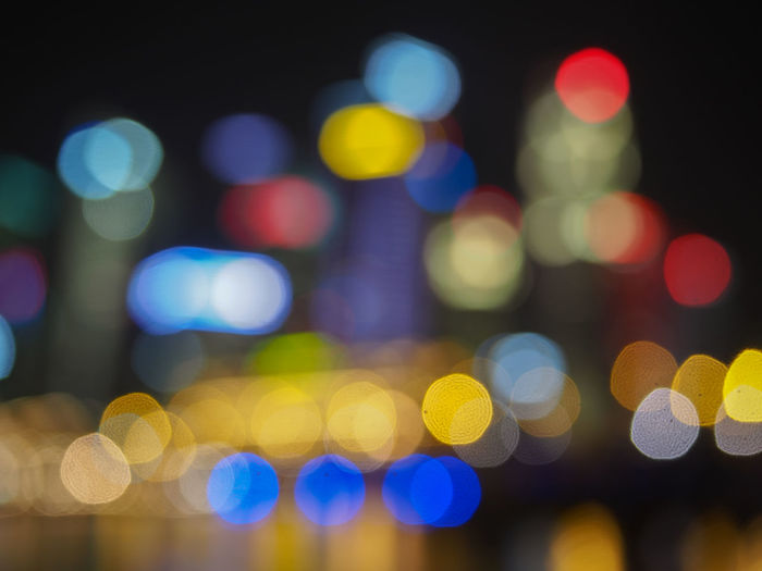Night lights Defocused Illuminated Night Multi Colored Abstract Light City Vibrant Color Abstract Backgrounds Circle Glowing