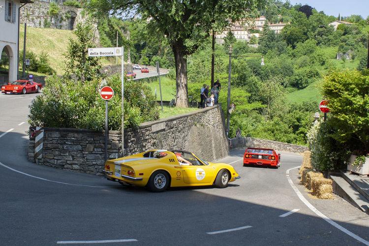 Yellow car on street