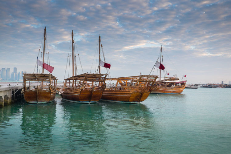 Traditional Bearings Festival, Doha, Qatar for fishing and pearl Katara Cultural Village Qatar Doha,Qatar Cultures Culture Hertitage Travel Tourism Arab Gulf Water Nautical Vessel Transportation Cloud - Sky Mode Of Transportation Sky Nature Sea Day Flag Architecture Fishing Boat Beauty In Nature