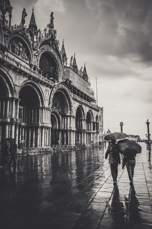 Arch Architecture Building Exterior Built Structure City Day Domestic Animals Europe Full Length Horse Horseback Riding Italy Mammal Men One Animal One Person Outdoors Piazza San Marco Piazzasanmarco Real People Sky Travel Destinations Venice Venice, Italy Water