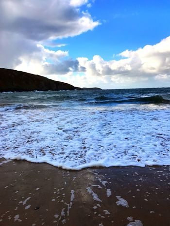 Sneaky Water. Sea Water Sky Nature Wave Beauty In Nature Beach Scenics Cloud - Sky Surf Shore Outdoors Tranquility No People Tranquil Scene Horizon Over Water Day Tide Seashore U.K. West Wales Beautiful Cardigan Bay